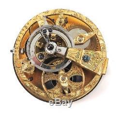 1700s 18K GOLD & COBALT BLUE ENAMEL CONTINENTAL POCKET WATCH SKELETON MOVEMENT