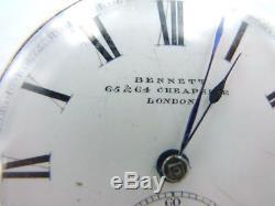 1800's JOHN BENNETT HIGH GRADE STERLING SILVER POCKET WATCH. JEWELLED MOVEMENT