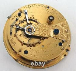 1800s C MAGRATH, LONDON DIAMOND END STONE LEVER FUSEE POCKET WATCH MOVEMENT