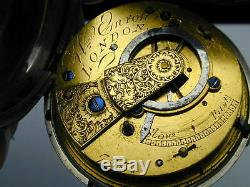 1830 Verge Fusee Silver Hunting Case London Pocket Watch #6
