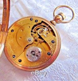 1874 Elgin Key Wind Dexter Street, 14k Hunting Case Movement # 232-400. Sku 311-3