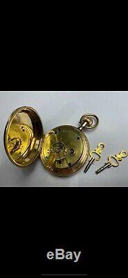 1883 Elgin Gold-Filled Hunter Pocket Watch 18S 7j Movement & two keys-Keeps Time