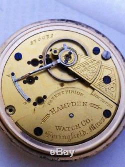 1883 HAMPDEN WATCH Co 18s 15 JEWEL POCKET WATCH RAILROAD GRADE No. 56 MOVEMENT