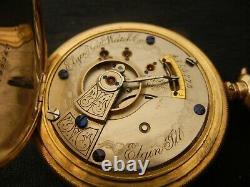 1892 Elgin Hunter Case Pocket Watch 18S 15J, 10k gold filled. Running