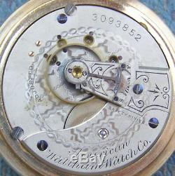 18S Waltham 15J Frosted Nickel Movement Display Case Pocket Watch Serviced
