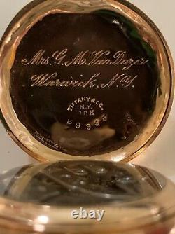 18k Gold Tiffany Pocket Watch With Patek Philippe Wolf Teeth Movement, With Box