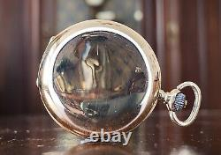 1900s IWC 14ct gold fob watch, cal. 64 movement, original box papers, serviced