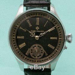 1910s Patek Philippe Pocket Watch Movement Custom Wristwatch Black Dial Antique
