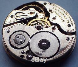 1911 Antique Hamilton 16s 21j 992 Railroad Pocket Watch Movement For Parts