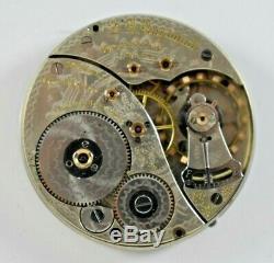 1912 Elgin Grade 372 16s 19 Jewels Railroad Pocket Watch Movement Good Bal lot. W