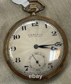 1920s Rolex Pocket Watch. Signed Rolex Movement And Case. Retailer on dial