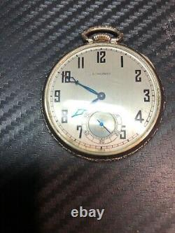 1929 Longines 14k Gold Filled Pocket Watch Swiss Made 17 Jewel Movement Working