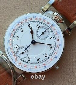 45mm Wristwatch with Vintage Pocket Watch Movement Omega Chronograph Marriage
