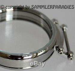 49mm STEEL CASE f INSERTING OF Pocket & Chrono watch movements Nardin Omega etc