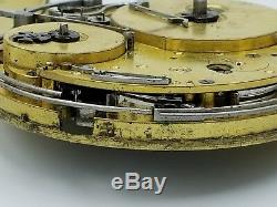 53mm Fusee 1/4 Hour Repeater French Musical Pocket Watch For Repairs Ca 1820