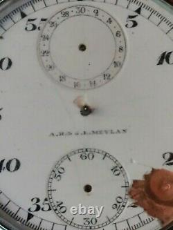 A. R. & J. E. Meylan Pocket Watch Stopwatch 7 j. Chronograph Movement 2 Counters