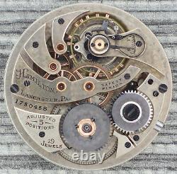Antique 12 Size Hamilton 19J Manual Wind Pocket Watch Movement Grade 900 Runs
