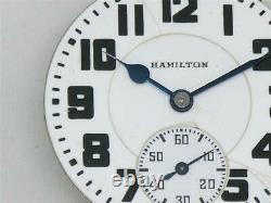 Antique 16s Hamilton 992e 21 Jewel Rr Watch Movement & Dial, Elinvar, Running