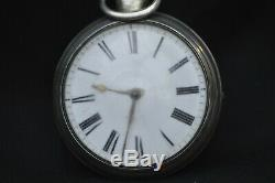 Antique C Bullingford Solid Silver Pair Case Pocket Watch Fusee Movement