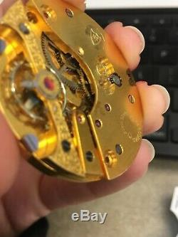 Antique Hebdomas 8 Day Pocket Watch Movement And Porcelain Dial #1 Not Working