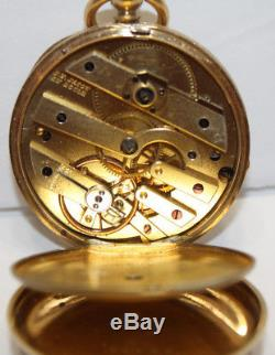 Antique J. F. Jacot 18K Gold Open Face Pocket Watch Engraved withKey Wind Movement