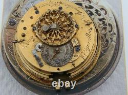 Antique Paul Dupin London Verge pocket watch Fusee movement & dial 1700s VGUC