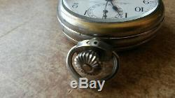 Antique Pocket watch with 30 min Chronograph, Swiss made E. Heuer movement