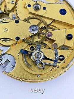 Antique Repeater Pocket Watch Movement With Breguet Shock System Ticking (E66)