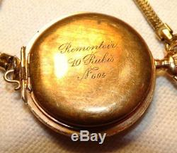 Antique SWISS Ladies Wrist Pendant Watch 14K Solid Gold Cylinder Movement Runs