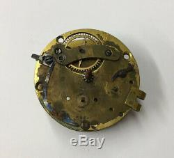 Antique Thomas Barrow Stockport Verge Pocket Watch Movement 3.5cm In Diameter