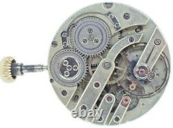 Antique Unsigned Le Coultre Wind Hunter Pocket Watch Movement + Wolf's Teeth