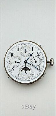 Antique quarter repeater chronograph moon phase-calendar pocket watch movement