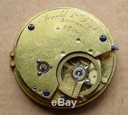 Arnold & Dent London fusee 3/4 pallet pocket watch movement, diamond end stone