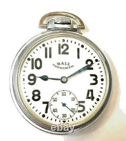 BALL Railroad Pocket Watch Mint dial & movement, silver nickel case