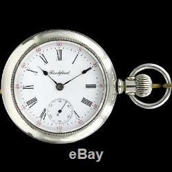BIG 1907 Rockford 17 Jewel Pocket Watch Two Tone Movement Large 18s Roman Nums