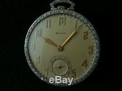 BULOVA PLATINUM DIAMOND POCKET WATCH HIGH GRADE MOVEMENT SUPERB VINTAGE 1950's