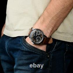 Black Retro Omega regulateur, swiss watch vintage pocket movement, gift for him
