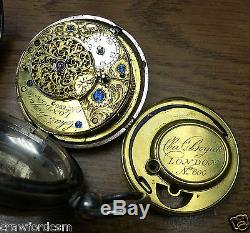 Ca1800 Charles Boyick London Fusee Pocket Watch Movement No 600 in silver case