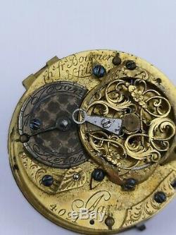 Ch. Fr. Bouvier, Paris Antique Circa 1730 Verge Pocket Watch Movement (BM1)