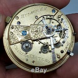 Charles E. Butler Hudson NY Fusee Pocket Watch Movement Silver Dial 22613