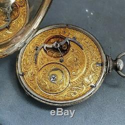 Chinese market antique extra thin pocket watch Fleurier 1800s unusual movement