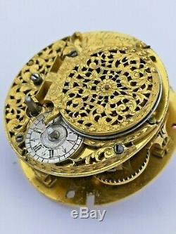 Circa 1690-1700 Garon, London Verge Fusee Pocket Watch Movement Ticking (R89)