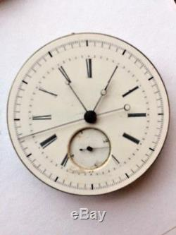 Double Train Chronograph Pocket Watch movement with quarter second jump for sale