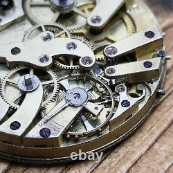 Dual Train & Time Zone Swiss Antique Pocket Watch Movement For Repair (P130)