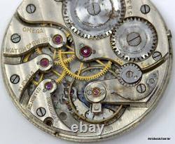 Early 1900's Omega Pocket Watch 21 Jewels 5 Positions 38.2 mm Movement For Parts