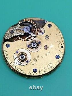 Early A. Lange & Söhne Working Pocket Watch Movement, Retailed in UK C. 1870