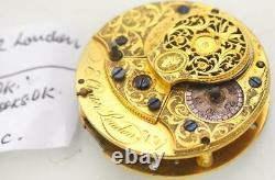 Early Fusee Verge Pocket Watch Movement Spares By E Chater London 1750