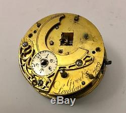 Early verge fusee pocketwatch movement parts