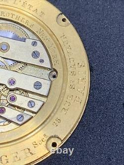 Ed Jaeger High Grade Antique French Pocket Watch Movement 38 Mm To Reatore F2211