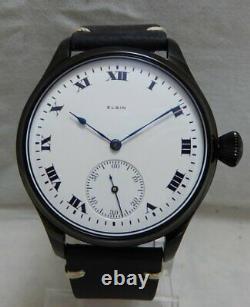 Elgin 12s Pocket Marriage Pocket Watch Conversion 44mm Black PVD 1917 Movement
